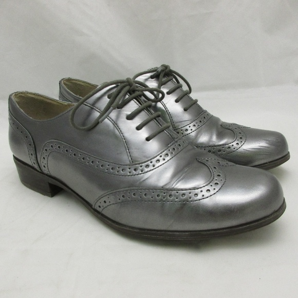 nytt billigt så billigt amazon Clarks Shoes | Narrative Silver Metallic Leather Wingtip | Poshmark